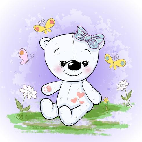 Postcard cute polar bear flowers and butterflies. Cartoon style vector