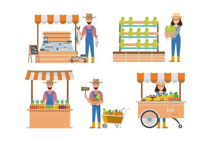 dibujos animados de granjero feliz en muchos personajes conjunto