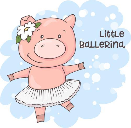 Ilustração de um porco bonito dos desenhos animados em um fundo azul. Vetor