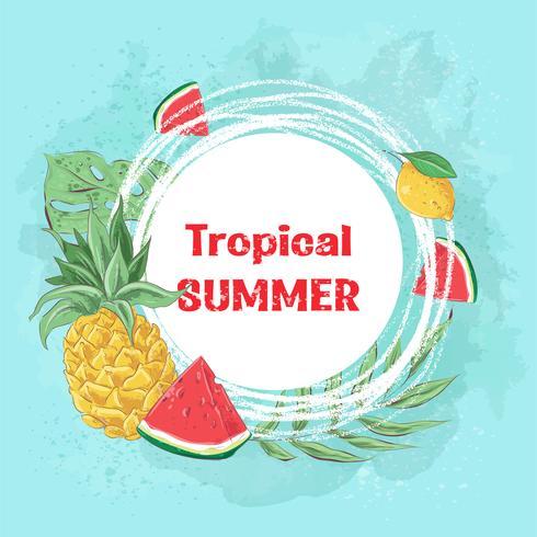 Poster cocktail gelato e frutta tropicale. Illustrazione vettoriale