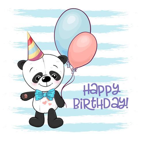 Ilustración de un panda de dibujos animados lindo con globos