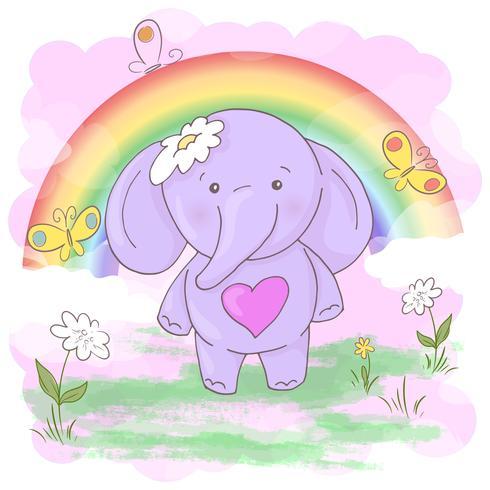 Vykort söta lilla elefantblommor och fjärilar. Tecknad stil vektor