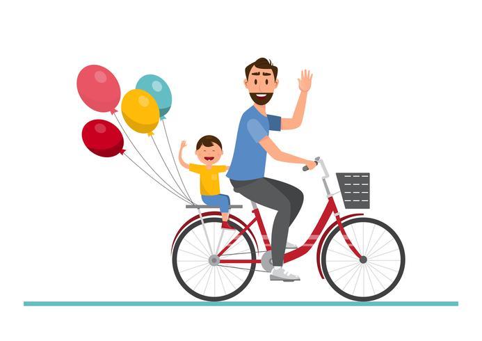 Glückliche Familie. Vater und Junge, die zusammen auf ein Fahrrad fahren vektor
