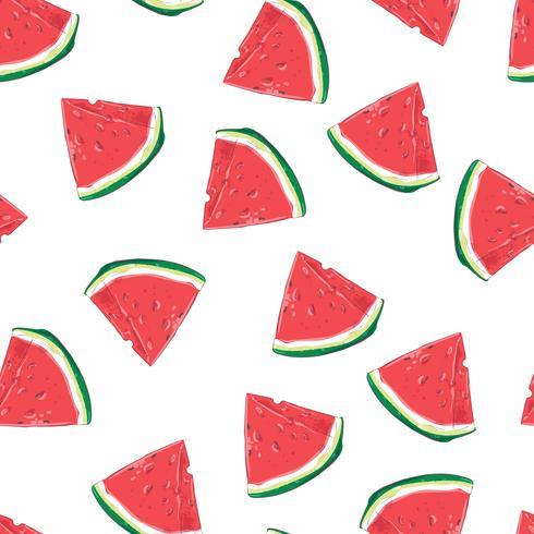 Seamless mönster av vattenmelonskivor. Vektor illustration