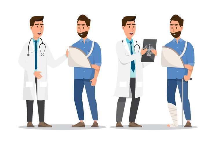 Conjunto de pessoas doentes estilo cartoon. homem quebrado mão e perna com médico vetor