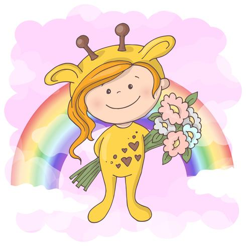 Postcard cute girl on the background of the rainbow. Cartoon style