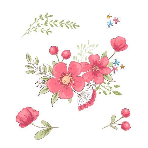 Conjunto de flores silvestres y mariposas. Dibujo a mano. Ilustración vectorial