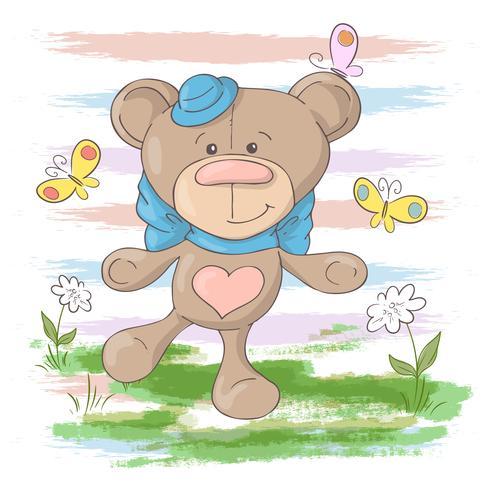 Cartes postales mignonnes fleurs et papillons d'ours en peluche. Style de bande dessinée
