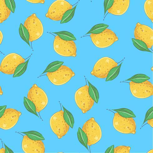 Seamless pattern yellow lemons on a blue background. Vector illustration