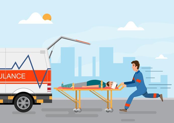 serviço médico de ambulância transportando paciente com pessoal de homem vetor