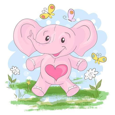 Tarjeta postal lindas pequeñas elefantes flores y mariposas. Estilo de dibujos animados vector