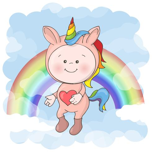 Postcard print with a cute baby in a unicorn costume. Cartoon style. vector