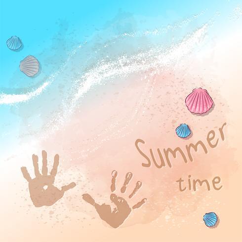 Briefkaart print strand zomerfeest met voetafdrukken op het zand bij de zee. Hand tekenstijl.
