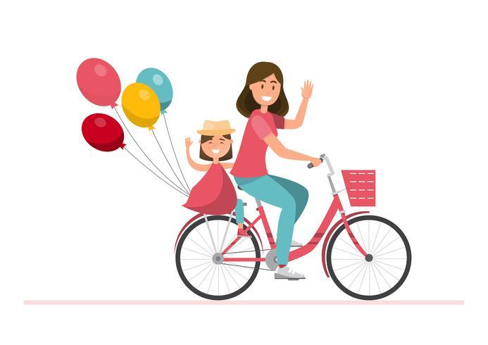Familia feliz montando en bicicleta juntos vector
