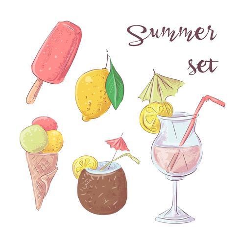 Set cocktailijs en tropisch fruit. Vector illustratie