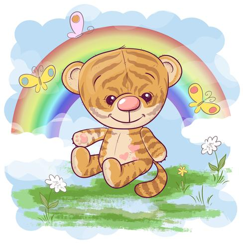 Postcard cute tiger cub on the background of the rainbow. Cartoon style vector