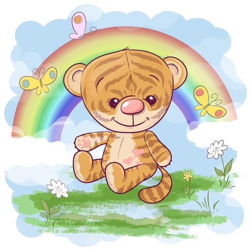 Filhote de tigre bonito do cartão no fundo do arco-íris. Estilo dos desenhos animados vetor