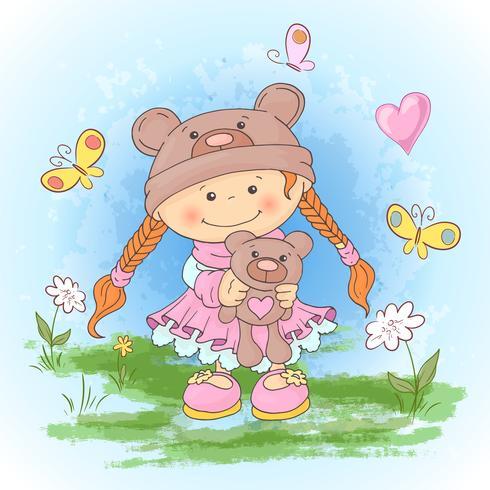 Briefkaartafdruk met een schattig meisje in een pak van beren met een stuk speelgoed. Cartoon stijl.