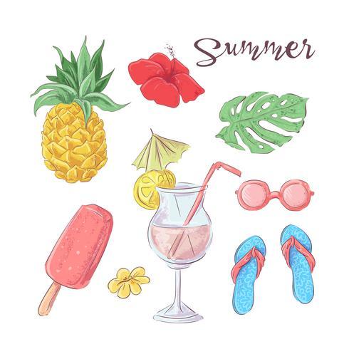 Conjunto de cocktail gelado e frutas tropicais. Ilustração vetorial vetor