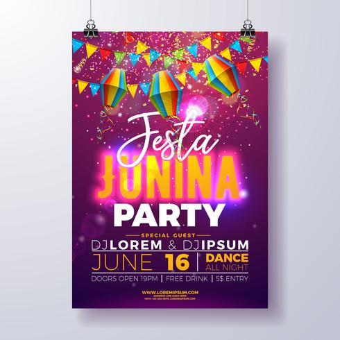 Partei-Flieger-Entwurf Festa Junina mit Flaggen, Papierlaterne und Typografie entwerfen auf glänzendem purpurrotem Hintergrund. Vektor-traditionelle Festival-Illustration Brasiliens Juni vektor