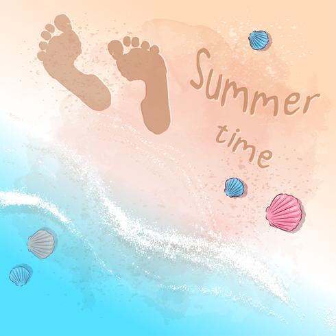 Vykort Skriv ut strand sommarfest med fotspår på sanden vid havet. Handritningsstil.