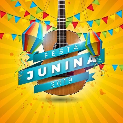 Ilustración de Festa Junina con guitarra acústica, banderas de fiesta y linterna de papel sobre fondo amarillo. Vector Brasil Junio Festival Diseño