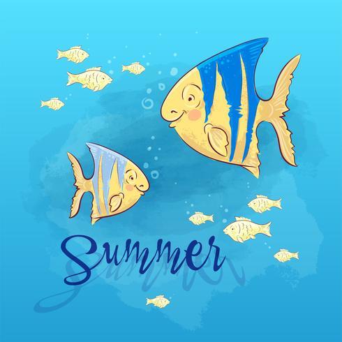Vykort Skriv ut strand sommarfest med havsfisk. Handritningsstil. vektor