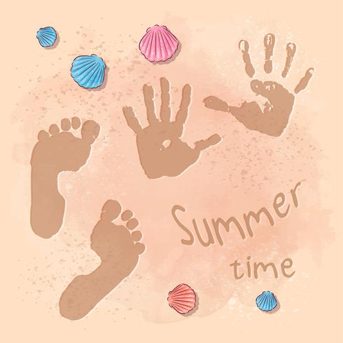 Fête d'été à la plage avec empreinte de pas sur le sable au bord de la mer. Style de dessin à la main vecteur