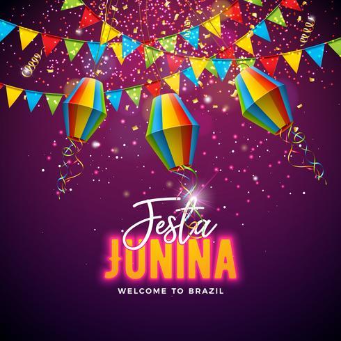 Festa Junina illustration med flaggor och papper lyktor på konfetti bakgrund. Vector Brasilien juni festival design