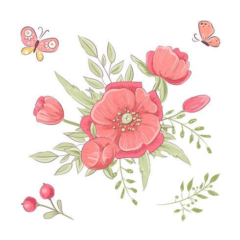 Conjunto de flores silvestres rojas y mariposas. Dibujo a mano. Ilustración vectorial vector