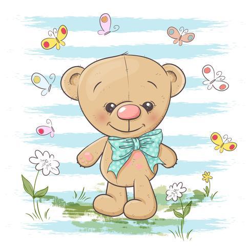 Tarjeta postal lindo oso de peluche flores y mariposas. Estilo de dibujos animados