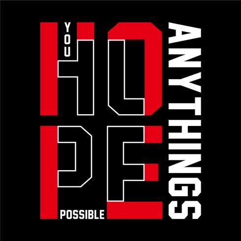 line hope typography design vector