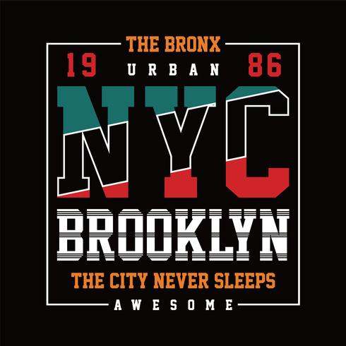 New York Brooklyn Typografie-Entwurfs-T-Shirt Grafik