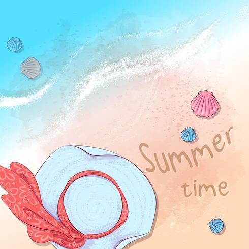 Briefkaart print strand zomerfeest met een hoed en leistenen op het zand bij de zee. Hand tekenstijl. vector