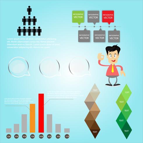infográfico com homem de negócios para o sucesso vetor