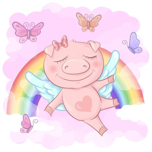 Ilustración de una historieta linda del cerdo en un fondo del arco iris. Vector