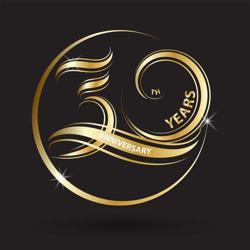 sinal de ouro 30º aniversário e logotipo para símbolo de celebração de ouro