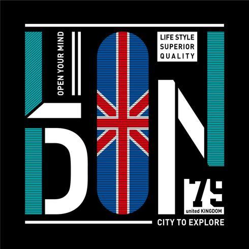 Design de tipografia de Londres t-shirt gráfico-impresso