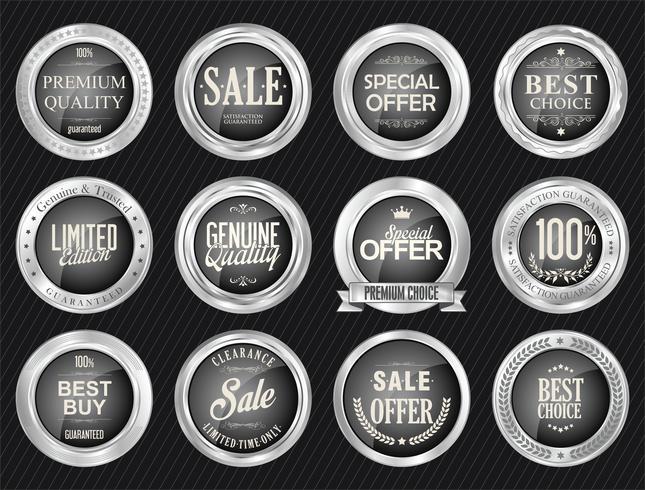 Emblemas e etiquetas de luxo premium em prata vetor