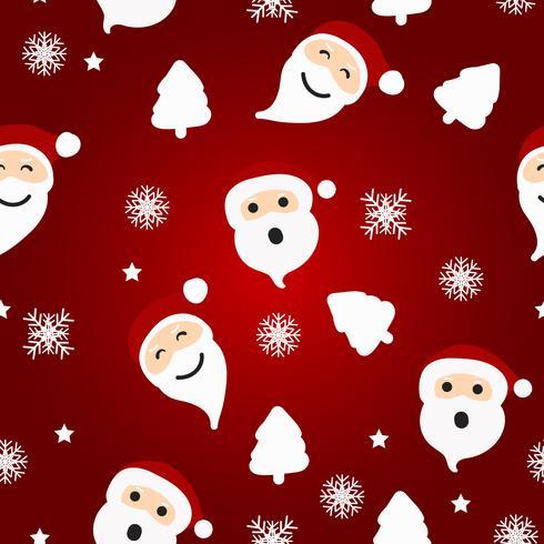 Modelo inconsútil de la Navidad con Papá Noel y el árbol en fondo rojo