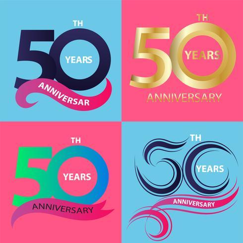 conjunto de sinal de aniversário 50 e símbolo de celebração do logotipo