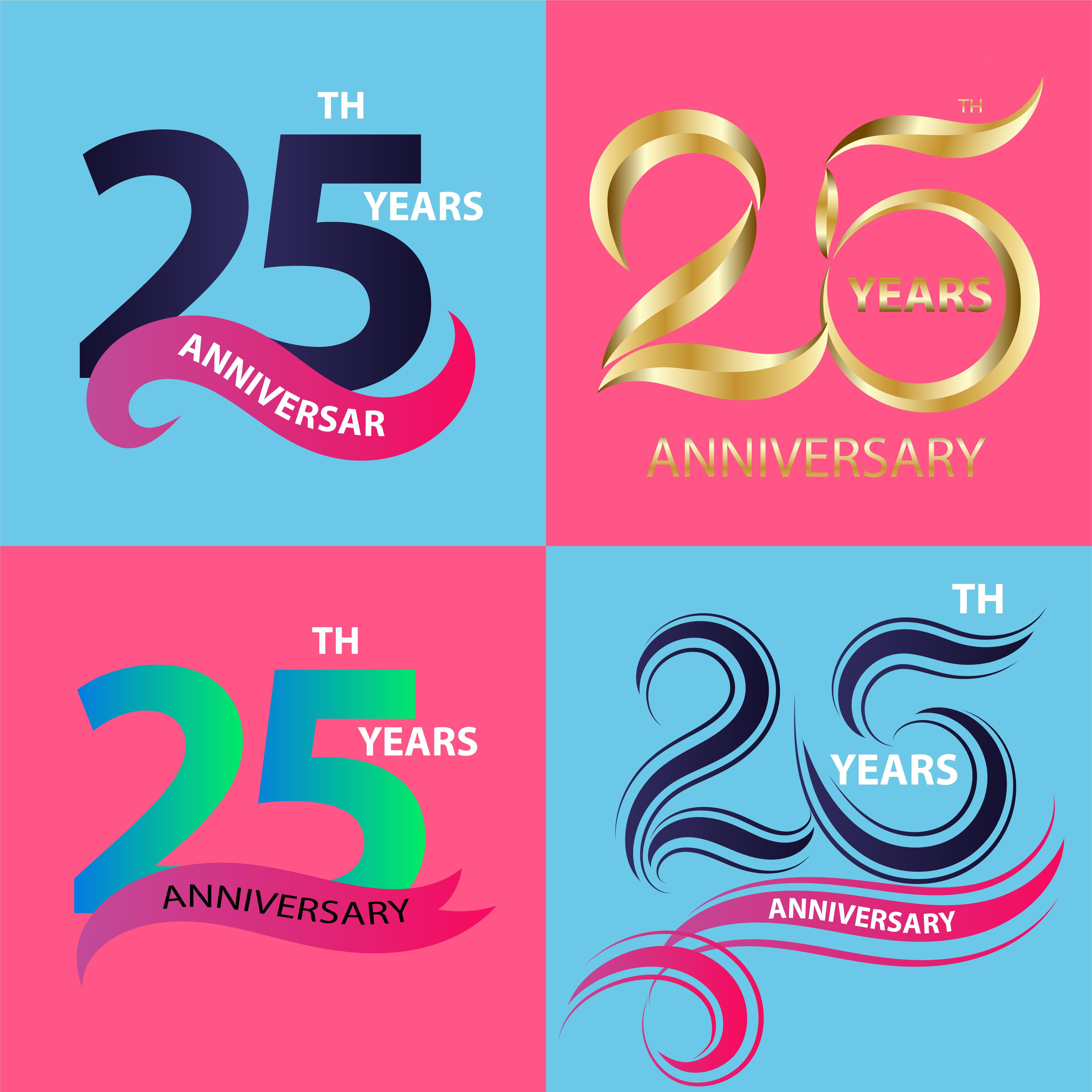 Set 25th Anniversary Sign And Logo Celebration Symbol