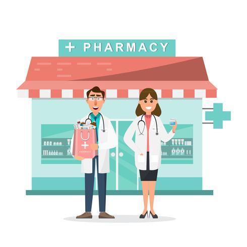 apotheke mit arzt und krankenschwester vor drogerie vektor