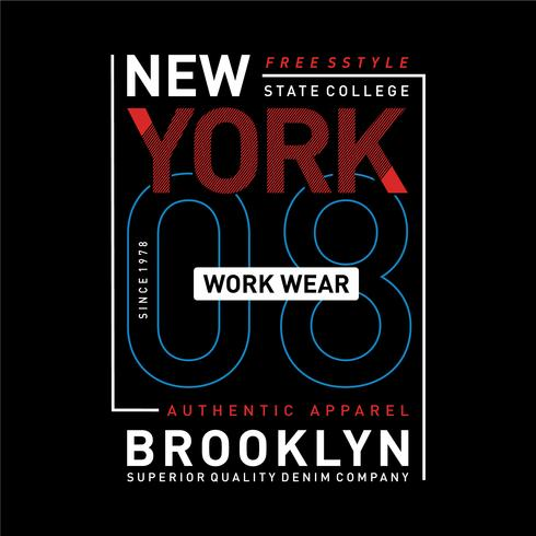 New York, Brooklyn Core-Denim-Typografie für T-Shirt-Print