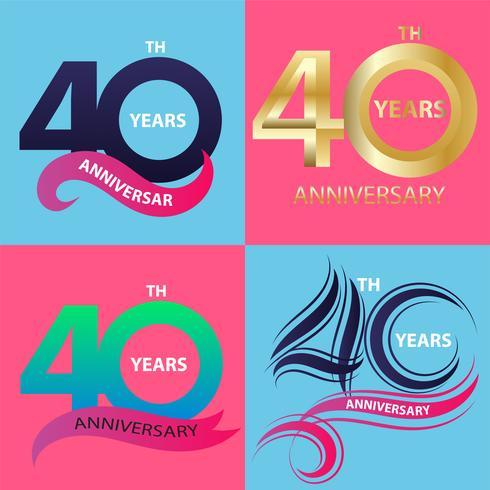conjunto de sinal de aniversário 40 e símbolo de celebração do logotipo vetor