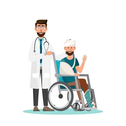 El hombre se sienta en una silla de ruedas con el doctor toma cuidado. vector