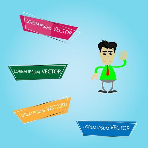 Infográfico de 4 passo com homem de negócios vetor