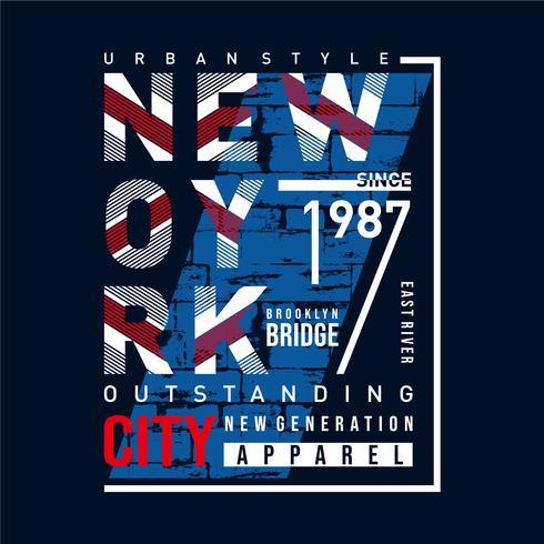 NY Brooklyn Typography Design, Graphique de T-shirts