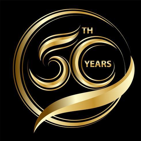 50º aniversário dourado vetor