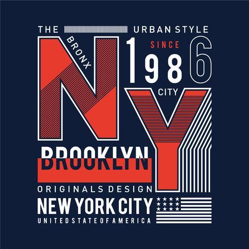 Camiseta, elemento, vintage, imágenes, nueva york, tipografía brooklyn